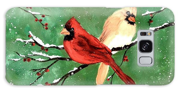 Winter Cardinals Galaxy Case by Denise Tomasura