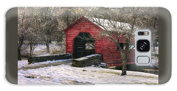 Winter Crossing In Elegance - Carroll Creek Covered Bridge - Baker Park Frederick Maryland Galaxy Case