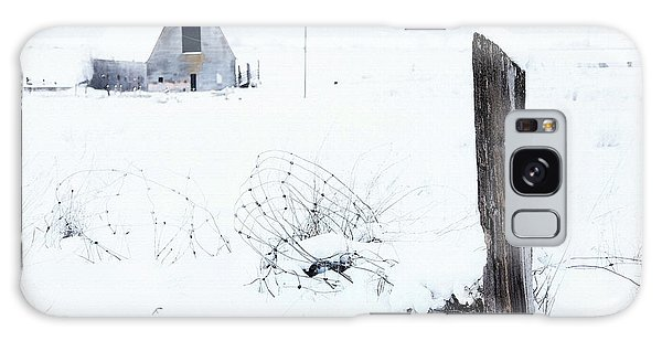 Fence Post Galaxy Case - Winter Fence With Barn by Theresa Tahara