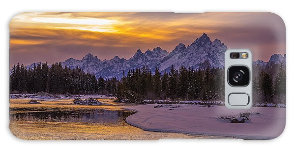 Winter Glow Over The Tetons Galaxy Case by Yeates Photography