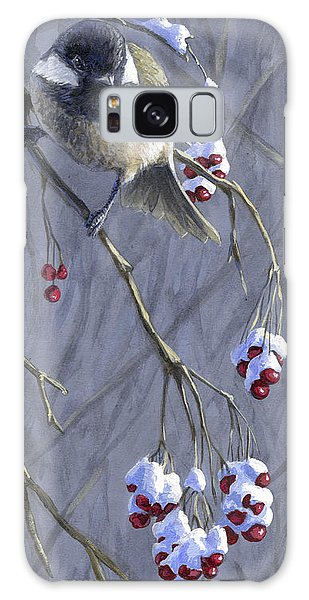Winter Harvest 1 Chickadee Painting Galaxy Case