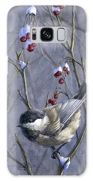 Chickadee Galaxy S8 Case - Winter Harvest 2 Chickadee Painting by Karen Whitworth