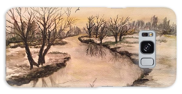 Winter Lake Scene Galaxy Case by Lucia Grilletto
