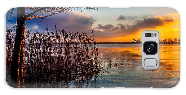 Winter Lake Sunset With A Tree Lighted In Red And Orange  Galaxy Case by Julis Simo