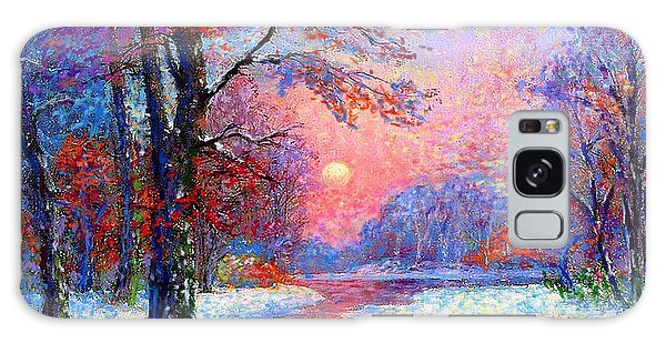 Winter Nightfall, Snow Scene  Galaxy Case