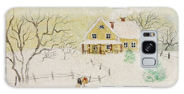Galaxy Case featuring the photograph Winter Painting Of House With Mailbox/ Digitally Altered by Sandra Cunningham
