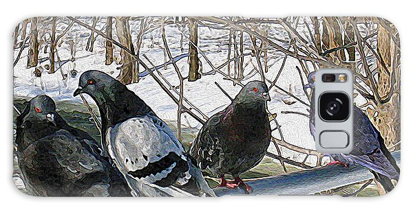 Winter Pigeon Party Galaxy Case