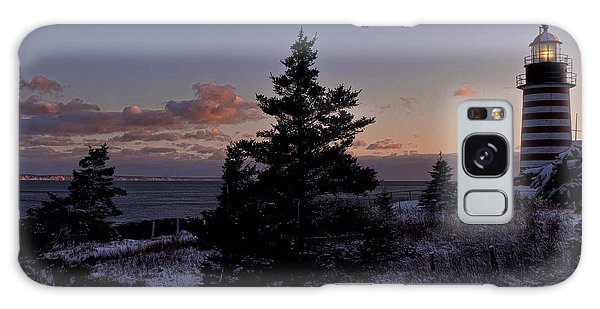 Winter Sentinel Lighthouse Galaxy Case by Marty Saccone
