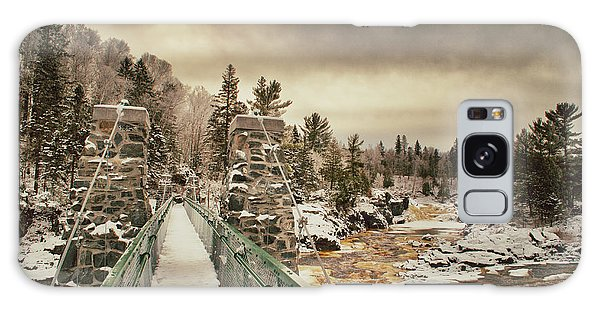 Winter Sunrise Over A Swinging Bridge Galaxy Case