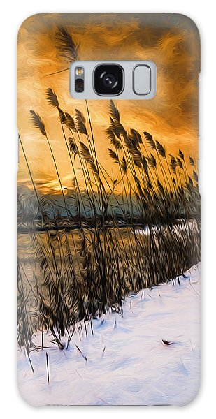 Winter Sunrise Through The Reeds - Artistic Galaxy Case