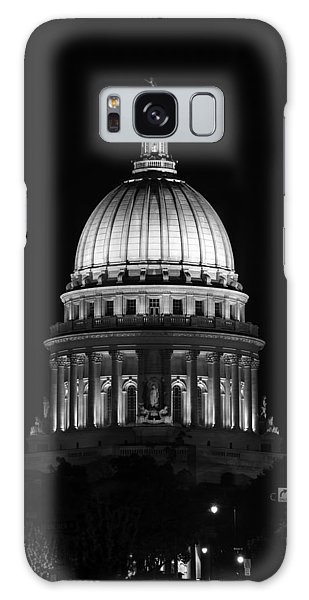 Wisconsin State Capitol Building At Night Black And White Galaxy Case