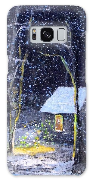 Wintery  Night At Thoreau's Cove Galaxy Case by Jack Skinner