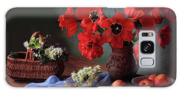 Basket Galaxy Case - With A Bouquet Of Red Tulips by ??????? ????????