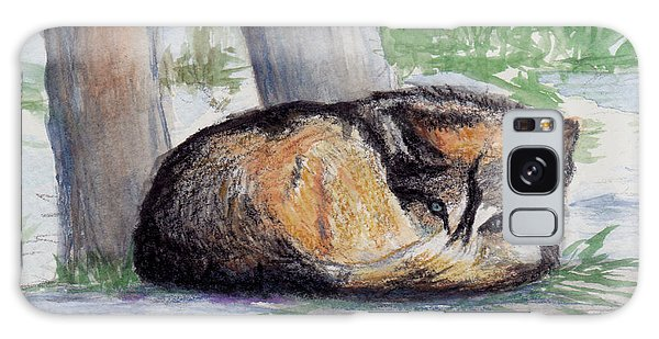 Wolf At Rest Galaxy Case by Brenda Thour