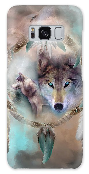 Galaxy Case featuring the mixed media Wolf - Dreams Of Peace by Carol Cavalaris