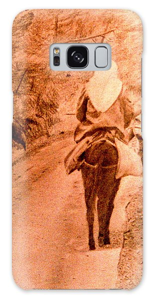 Woman And Donkey-going Home Galaxy Case