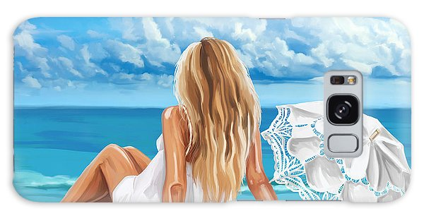 Woman At The Beach Galaxy Case by Tim Gilliland