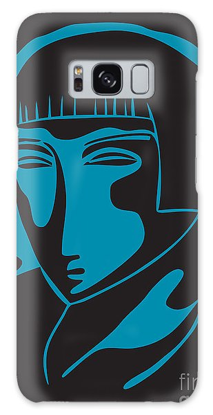 Woman Face  Black And Blue Galaxy Case