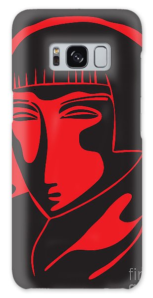 Woman Face  Black And Red Galaxy Case
