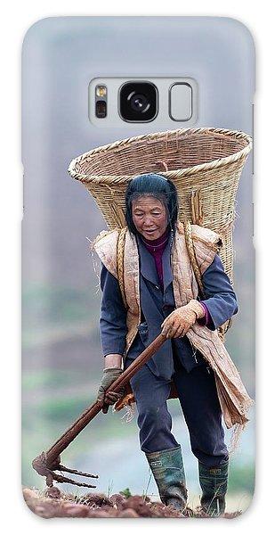 Woman Farm Worker Harvesting Potatoes Galaxy Case by Tony Camacho