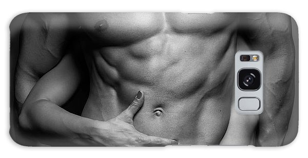 Woman Hands Touching Muscular Man's Body Galaxy Case