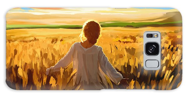 Woman In A Wheat Field Galaxy Case