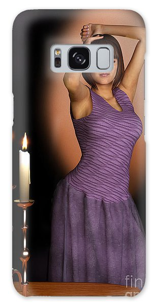 Woman In Purple Gown With Candles Galaxy Case