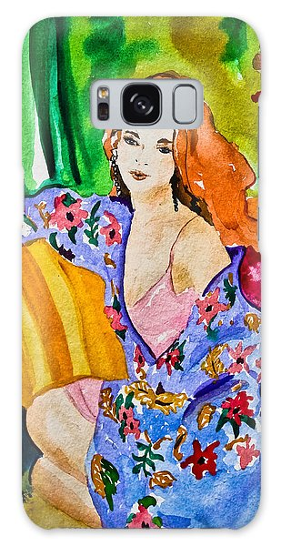 Woman In Silk Kimono Galaxy Case