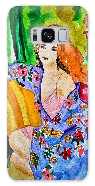 Woman In Silk Kimono Galaxy Case by Colleen Kammerer