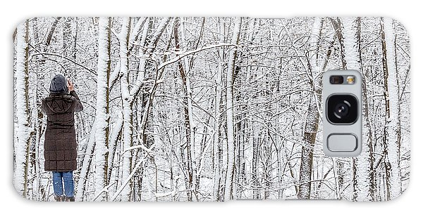 Woman In A Snow Covered Forest Galaxy Case