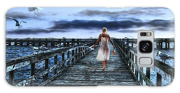 Woman On Pier Galaxy Case