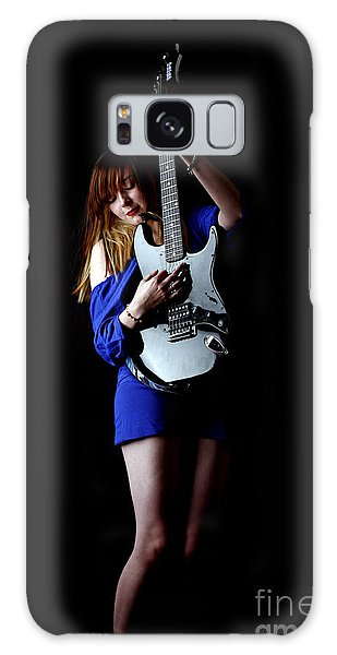 Woman Playing Lead Guitar Galaxy Case