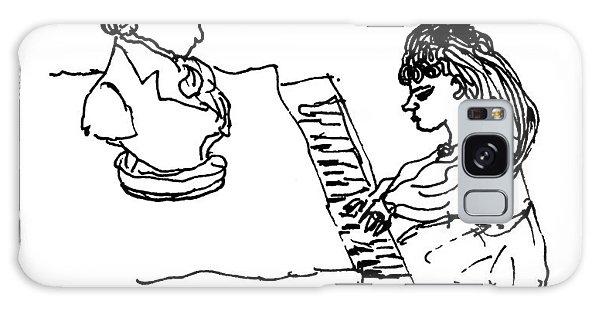 Woman Playing Piano Galaxy Case