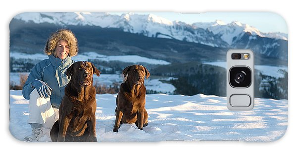 Chocolate Lab Galaxy Case - Woman Plays With Two Dogs by Kennan Harvey