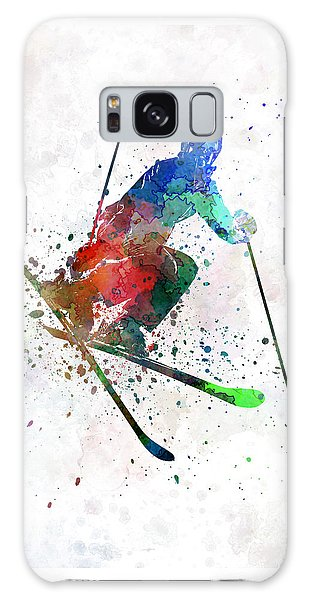 Abstract People Galaxy Case - Woman Skier Freestyler Jumping by Pablo Romero