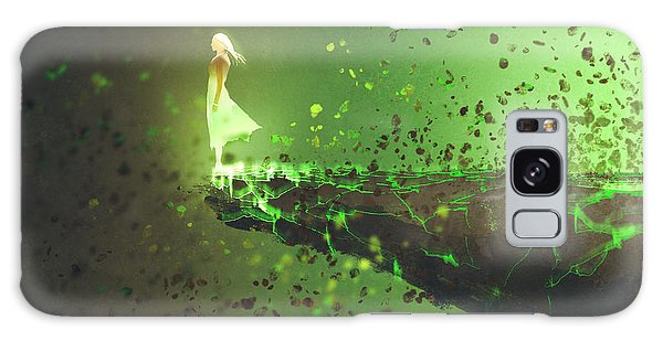 Galaxy Case - Woman Standing Lonely On The Edge Of A by Tithi Luadthong