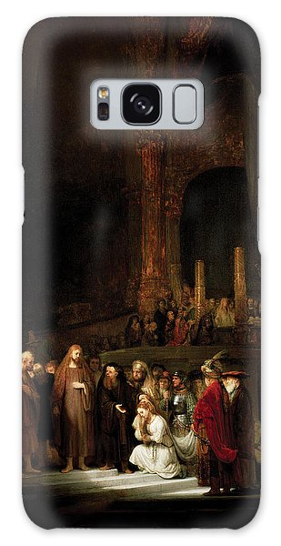 Woman Taken In Adultry To Jesus Galaxy Case by Rembrandt