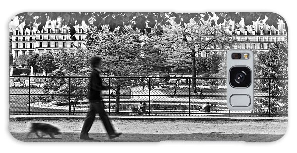 Galaxy Case featuring the photograph Woman Walking Dog In The Tuileries Gardens - Paris by Barry O Carroll