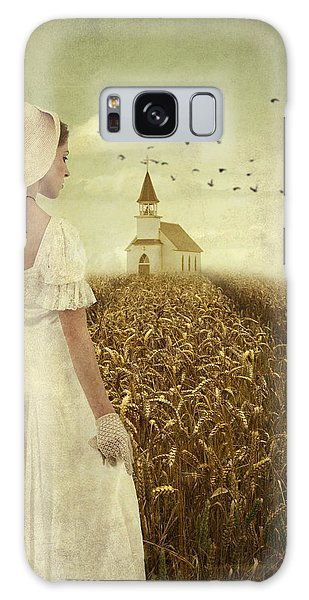 Woman Walking Towards Old Church In Cornfield Galaxy Case by Ethiriel  Photography