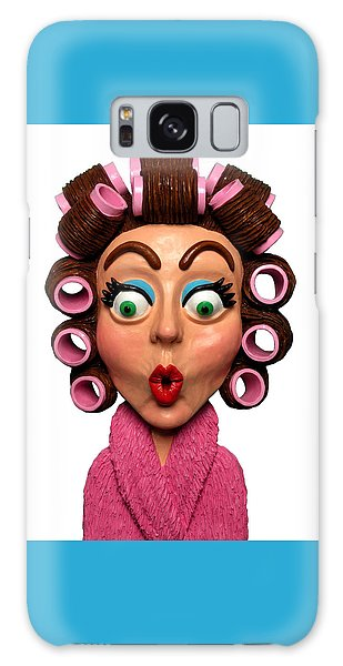 Woman Wearing Curlers Galaxy Case