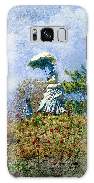 Woman With Parasol Galaxy Case