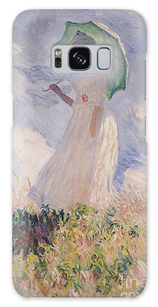 Breeze Galaxy Case - Woman With Parasol Turned To The Left by Claude Monet