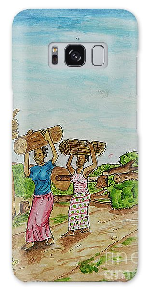 Women Carrying Logs To Cook Galaxy Case