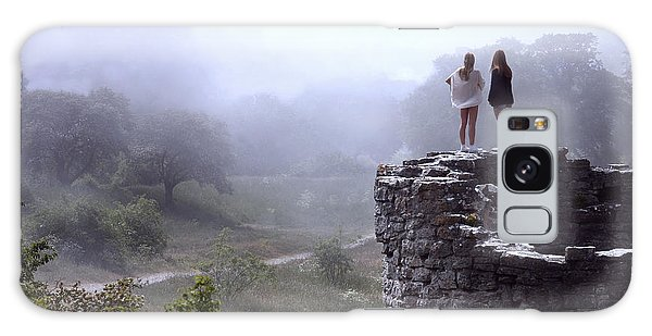 Women Overlooking Bright Foggy Valley Galaxy Case
