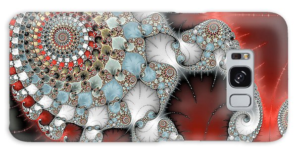 Wonderful Abstract Fractal Spirals Red Grey Yellow And Light Blue Galaxy Case