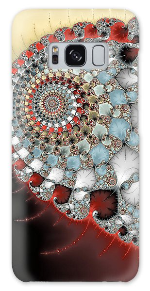 Wonderful Abstract Fractal Spirals Red Grey Yellow And Light Blue Galaxy Case by Matthias Hauser