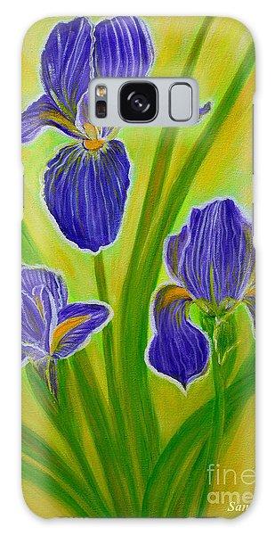 Wonderful Iris Flowers 3 Galaxy Case by Oksana Semenchenko