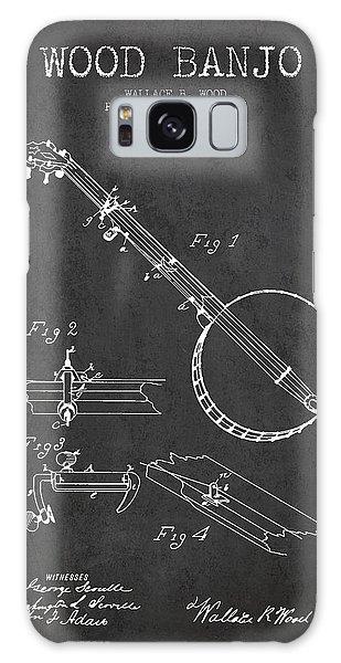 Folk Art Galaxy Case - Wood Banjo Patent Drawing From 1887 - Dark by Aged Pixel