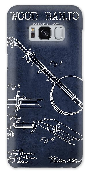 Folk Art Galaxy Case - Wood Banjo Patent Drawing From 1887 - Navy Blue by Aged Pixel