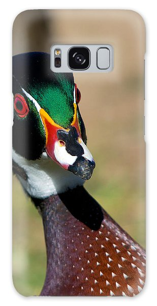 Wood Duck Drake Looking At Me Galaxy Case by Stephen  Johnson